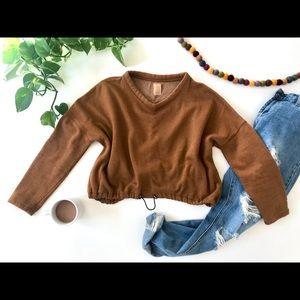 Zara Cropped Sweater with Elastic Drawstring